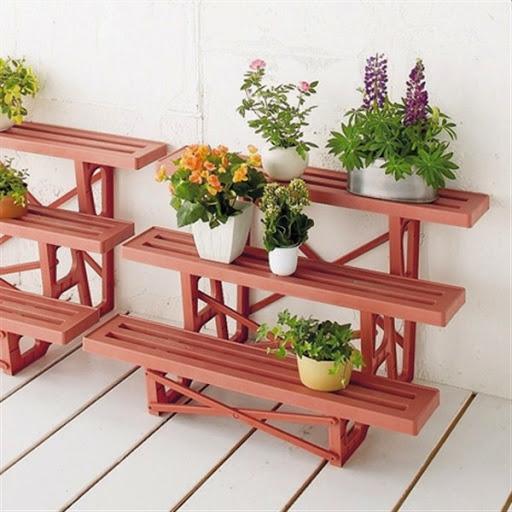 Model Rak Pot Bunga Dan Tanaman Hias Unik Dari Bahan Kayu Dan Besi